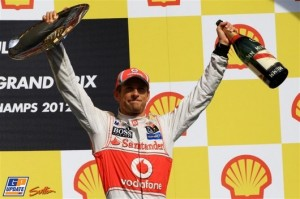 Jenson Button no pódio em Spa 2012