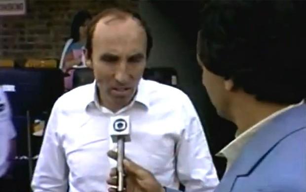 Frank Williams em entrevista a Reginaldo Leme após teste com Senna (Foto: TV GLOBO)